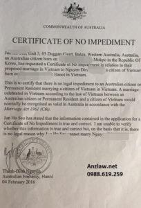 1 trong 3 cách kết hôn với người Úc - Giấy tờ kết hôn tại Việt Nam