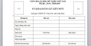 To khai dang ky ket hon voi nguoi Han Quoc tai Viet Nam