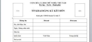 Tơ khai dang ky ket hon voi nguoi co quoc tich Trung Quoc tai Viet Nam