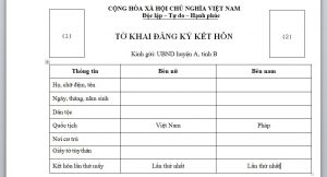 To khai dang ky ket hon voi nguoi Phap tai Viet Nam