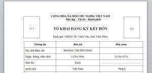 To khai dung de dang ky ket hon voi nguoi Phap tai Viet Nam - Anh minh hoa
