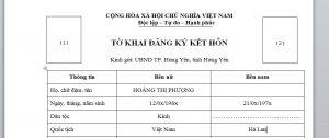 To khai de dang ky ket hon voi nguoi Ha Lan tai Viet Nam - Anh minh hoa
