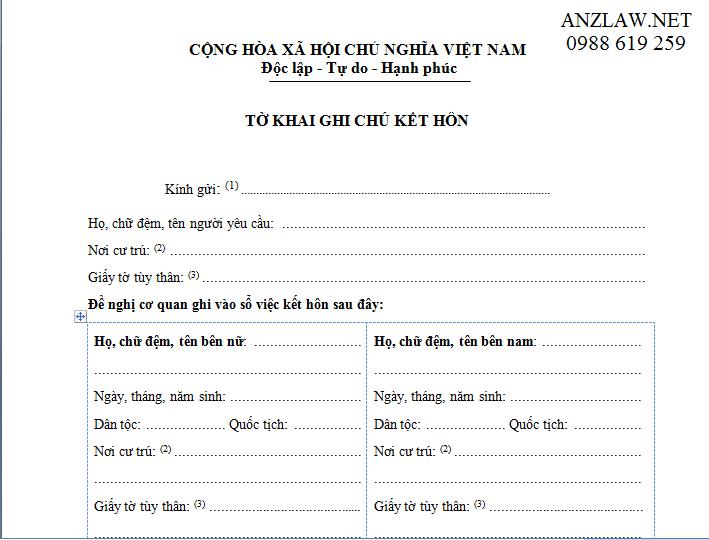 Huong dan dien to khai ghi chu ket hon voi nguoi nuoc ngoai - Anh minh hoa