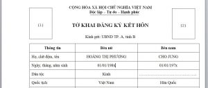 To khai dang ky ket hon voi nguoi nuoc ngoai tai Viet Nam - Anh minh hoa