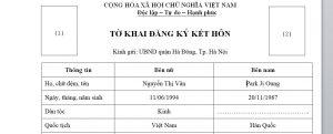 To khai - Giay to dung de ket hon voi nguoi Han Quoc tai Viet Nam - Anh minh hoa